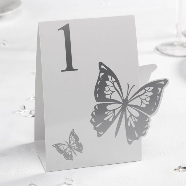 Elegant Butterfly Table Numbers - White & Silver (12)